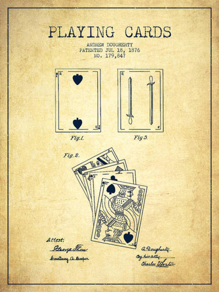 Playing Digital Art - Dougherty Playing Cards Patent Drawing From 1876 - Vintage by Aged Pixel