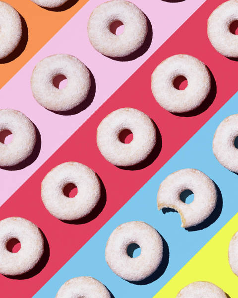 Digital Art - Doughnuts On Colourful Background by Westend61