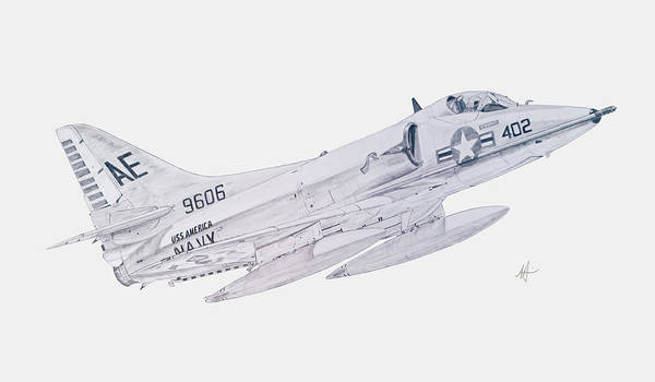 Vietnam Drawing - Douglas A-4c Skyhawk by Nicholas Linehan