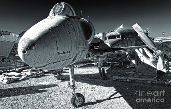 Photograph - Douglas Skyhawk A-4b - Black And White by Gregory Dyer