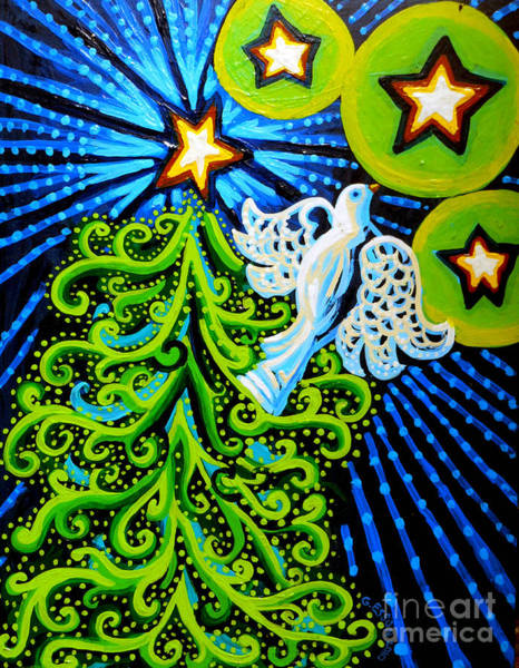 Red White And Blue Painting - Dove And Christmas Tree by Genevieve Esson