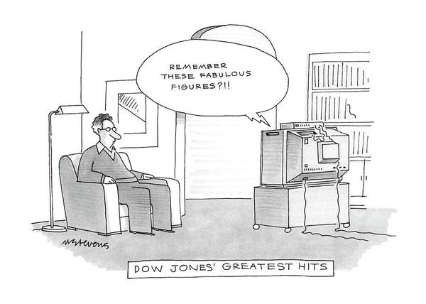 T.v Drawing - Dow Jones' Greatest Hits by Mick Stevens