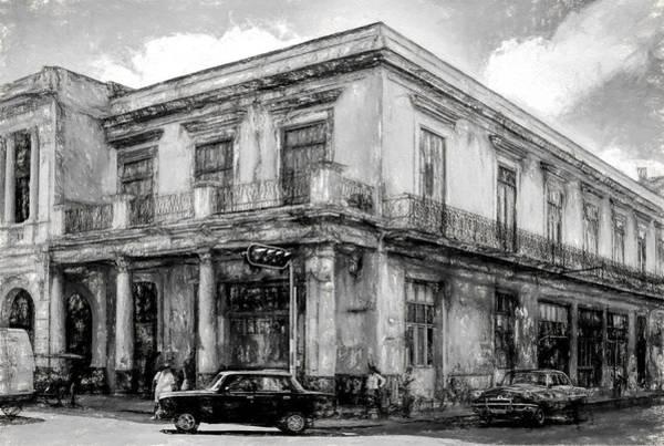 Photograph - Down On The Corner - Havana Bw Painterly - V4 by Les Palenik