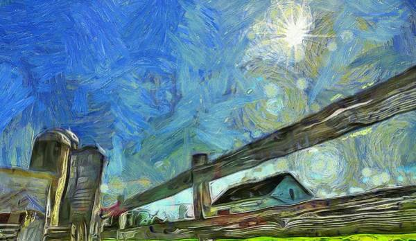 White Picket Fence Painting - Down On The Farm Van Gogh by Dan Sproul