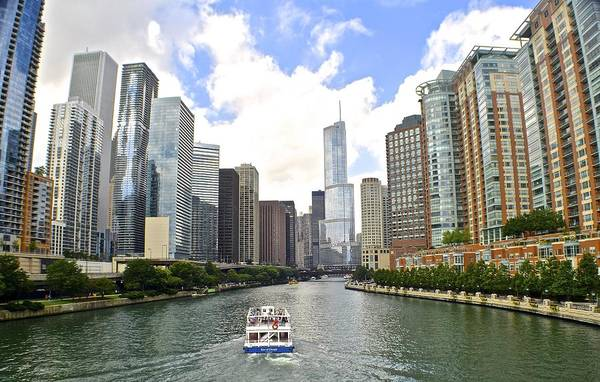 Oprah Wall Art - Photograph - Down The Chicago River by Frozen in Time Fine Art Photography