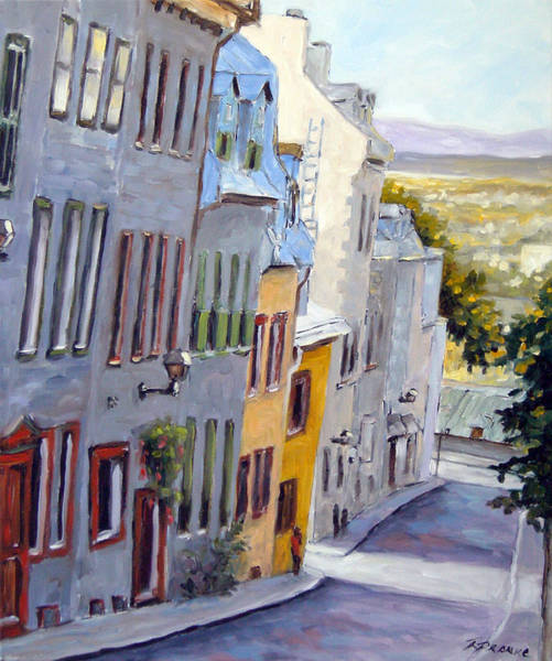 Street Scape Painting - Down The Hill Old Quebec City by Richard T Pranke