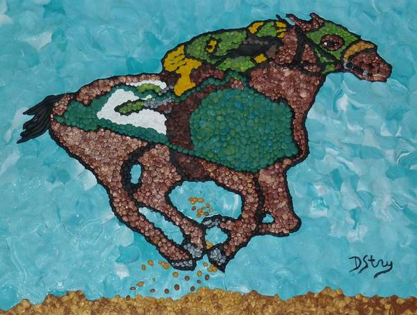 Mixed Media - Down The Stretch by Deborah Stanley