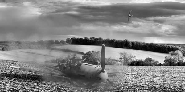 Photograph - Downfall Of A 109 Black And White Version by Gary Eason
