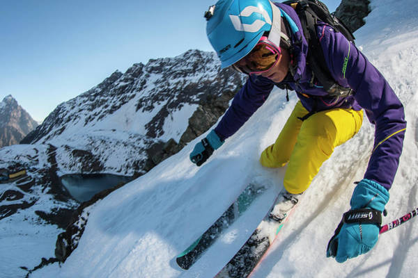 High Speed Photograph - Downhill Skiier In Portillo, Chile by Gabe Rogel