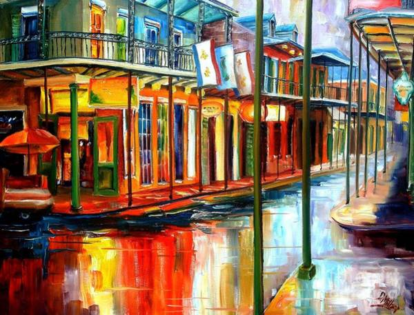 Louisiana Wall Art - Painting - Downpour On Bourbon Street by Diane Millsap