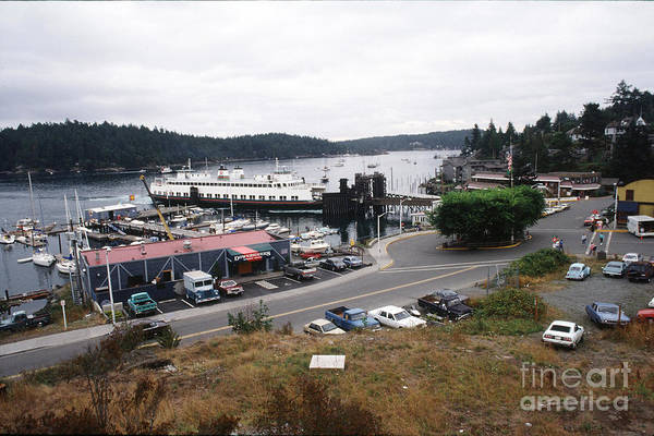 Photograph - Downriggers Restaurant Ferry Landing Friday Harbor San Juan Island 1989 by California Views Archives Mr Pat Hathaway Archives