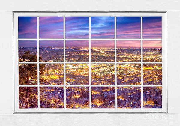 Photograph - Downtown Boulder Colorado City Lights Sunrise  Window View 8lg by James BO Insogna