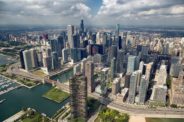 Photograph - Downtown Chicago Aerial by Adam Romanowicz