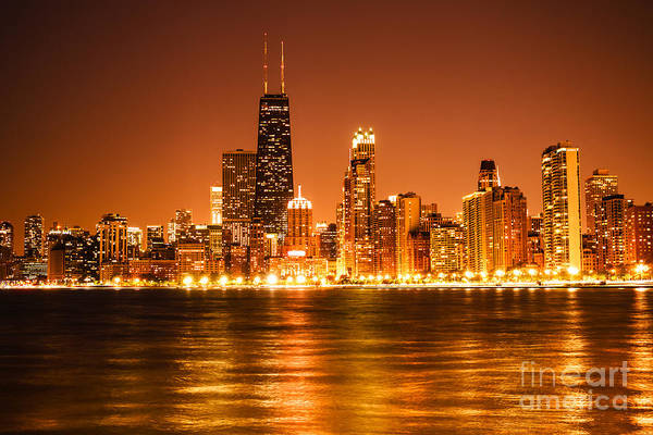 Downtown Chicago At Night With Chicago Skyline Art Print