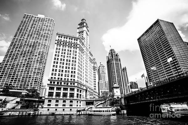 Chicago Tribune Wall Art - Photograph - Downtown Chicago Buildings Black And White Picture by Paul Velgos