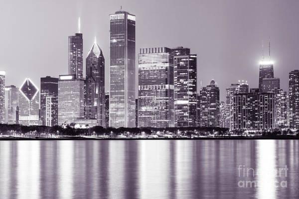 Downtown Chicago City Skyline At Night   Art Print