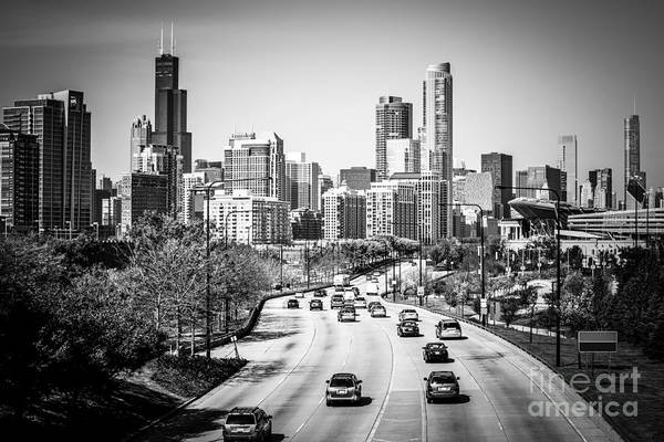 Skyline Drive Photograph - Downtown Chicago Lake Shore Drive In Black And White by Paul Velgos