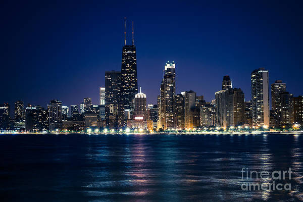 Downtown City Of Chicago At Night Art Print