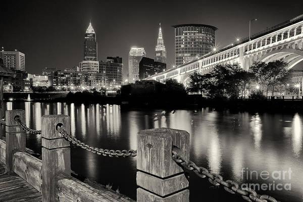 Photograph - Downtown Cleveland Monochrome by Joshua Clark