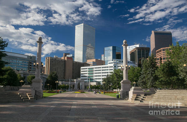 Mile High City Photograph - Downtown Denver From Civic Center Park by Bridget Calip