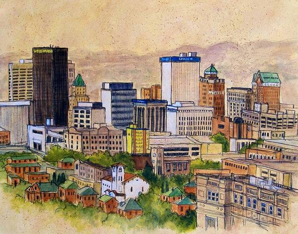El Paso Wall Art - Painting - Downtown From Rim Road by Candy Mayer