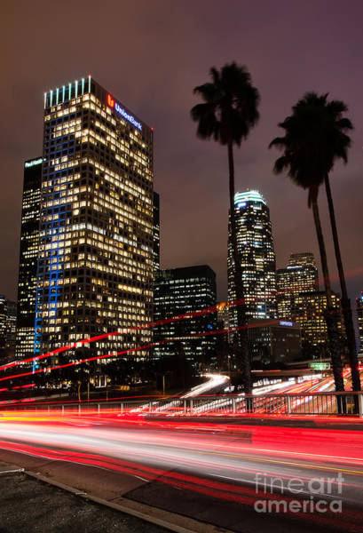 Photograph - Downtown Los Angeles At Night by Eddie Yerkish