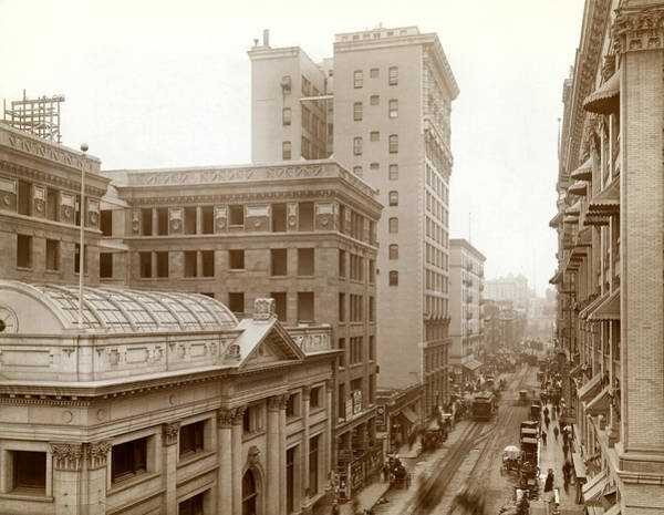 1900 Photograph - Downtown Los Angeles In 1900 by Underwood Archives