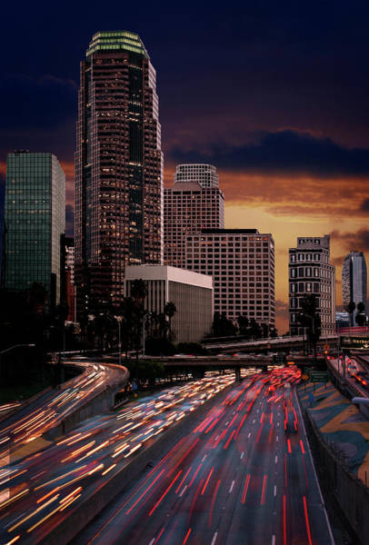 Photograph - Downtown Los Angeles Traffic At Dusk by Ed Freeman