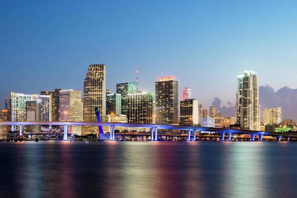 Biscayne Wall Art - Photograph - Downtown Miami Skyline At Dusk by Raimund Koch