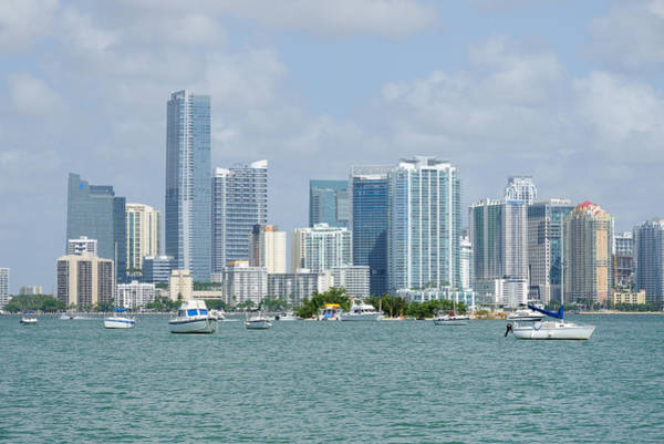 Photograph - Downtown Miami View With Boats by Bradford Martin