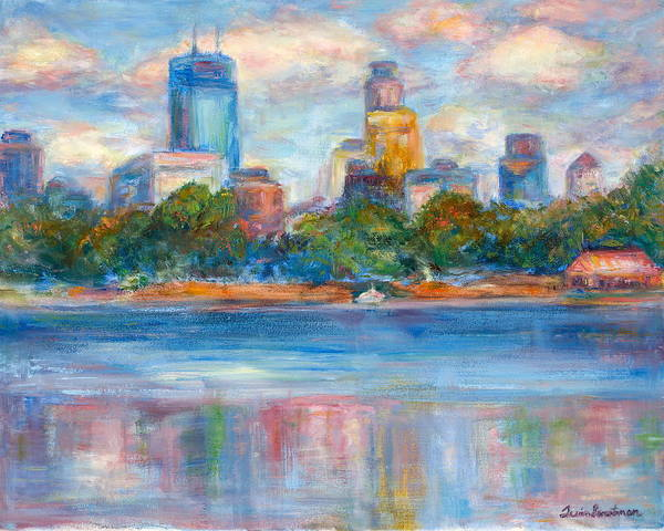 Painting - Downtown Minneapolis Skyline From Lake Calhoun II - Or Commission Your City Painting by Quin Sweetman