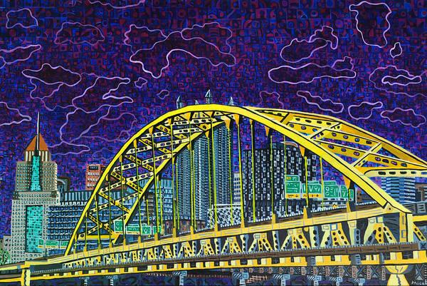 Wall Art - Painting - Downtown Pittsburgh - Fort Pitt Bridge by Micah Mullen