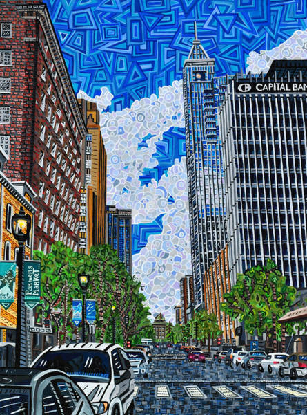 Downtown Raleigh Wall Art - Painting - Downtown Raleigh - Fayetteville Street by Micah Mullen
