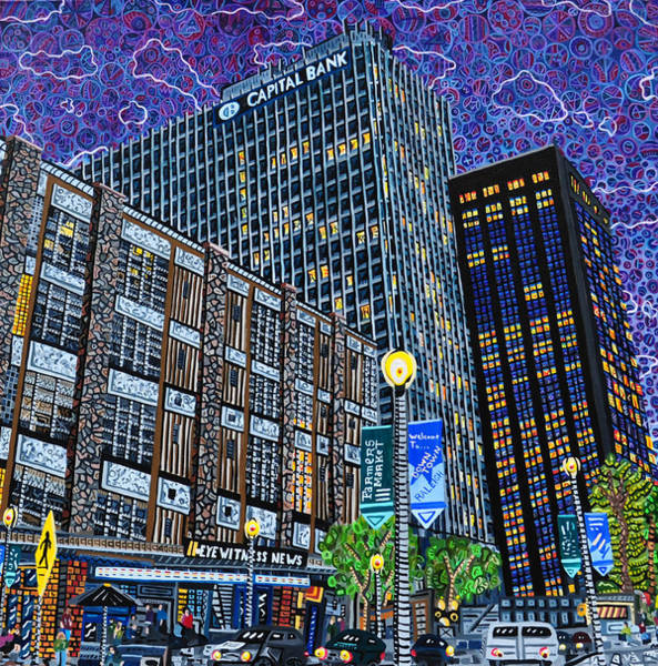 Downtown Raleigh Wall Art - Painting - Downtown Raleigh - Hudson Building by Micah Mullen