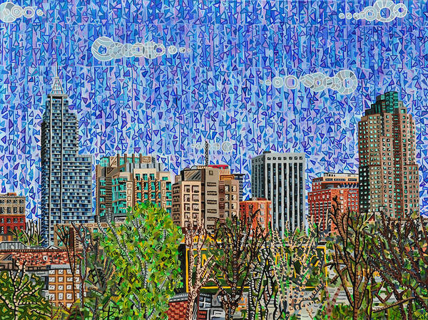Wall Art - Painting - Downtown Raleigh - View From Boylan Street Bridge by Micah Mullen