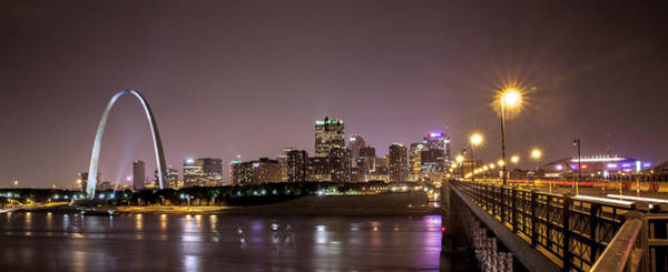 Photograph - Downtown Saint Louis From The Eads Bridge At Night by David Coblitz