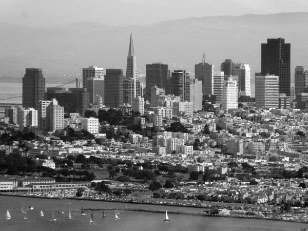 Photograph - Downtown San Francisco Black White by Jeff Lowe