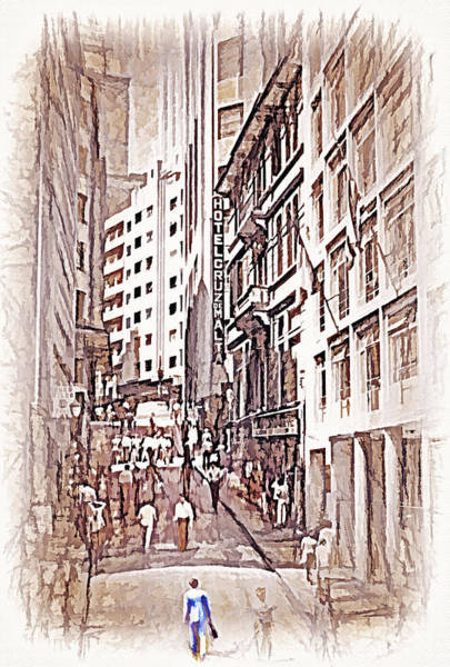 Wall Art - Photograph - Downtown Sao Paulo Brazil 9 - 1982 - Topaz  by Steve Ohlsen