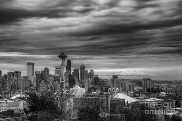 Photograph - Downtown Seattle Black And White by Eddie Yerkish