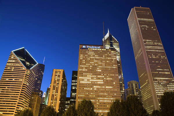 Millennium Park Photograph - Downtown Skyline At Twilight Seen From by Charles Cook