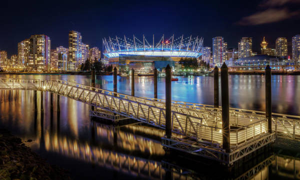 False Creek Wall Art - Photograph - Downtown Vancouver Lights Reflected In by Alexis Birkill