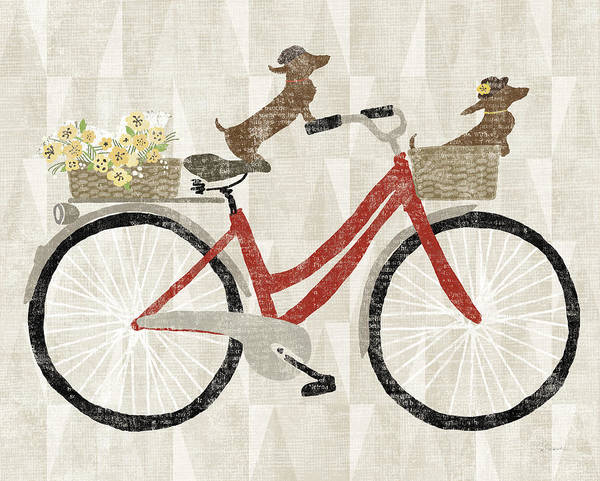 Wall Art - Painting - Doxie Ride Ver I Red Bike by Sue Schlabach