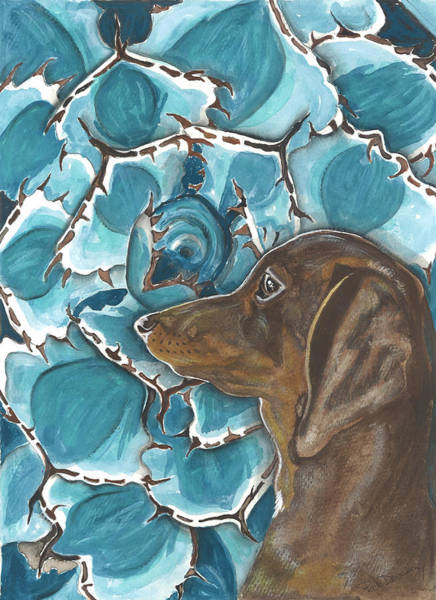 Doxie With Cactus Art Print by Pat Devereaux