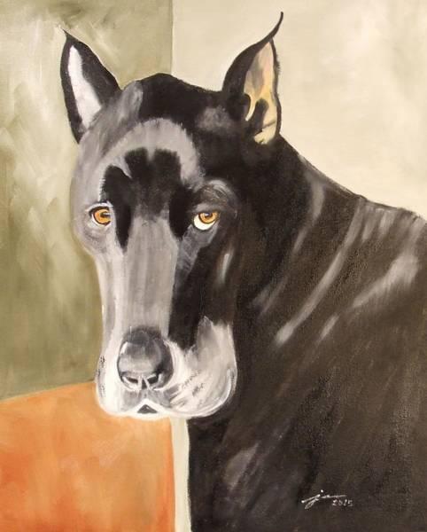 Black Great Dane Painting - Dozer by Janice Martin