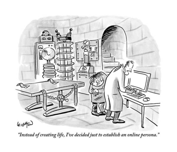 Scientist Drawing - Dr. Frankenstein To His Assistant. His Lab Has No by Robert Leighton