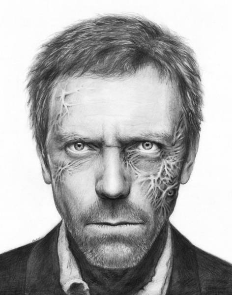 White Drawing - Dr. Gregory House - House Md by Olga Shvartsur