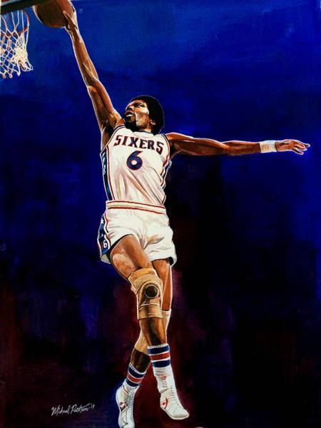 76ers Painting - Dr. J Julius Erving  by Michael Pattison