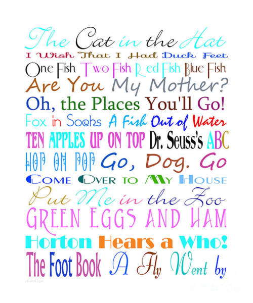 Digital Art - Dr Seuss Books 3 by Andee Design