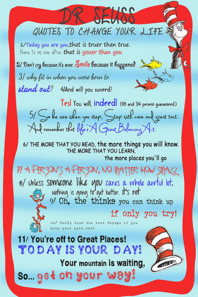 Cat In The Hat Wall Art - Digital Art - Dr Seuss - Quotes To Change Your Life by Georgia Fowler
