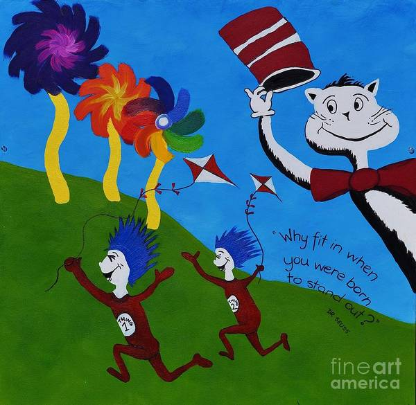 Cat In The Hat Wall Art - Painting - Dr Seuss by Tessa Dutoit